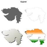 Gujarat blank detailed outline map set poster