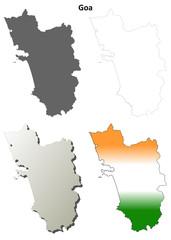 Goa blank detailed outline map set