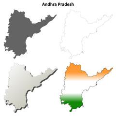 Andhra Pradesh blank detailed outline map set