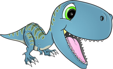 Happy Dinosaur T-Rex Vector Illustration Art