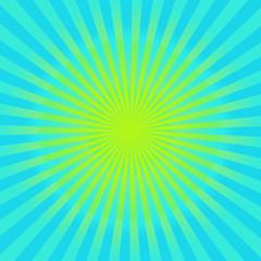 Cyan and yellow sunburst  background