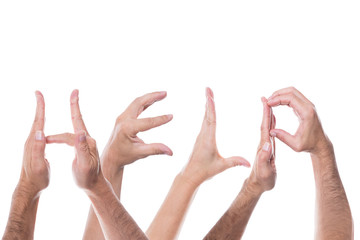 lot of hands form the word help