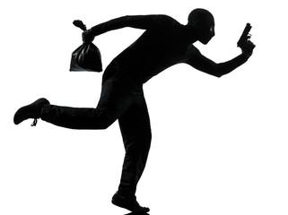 man thief criminal running silhouette