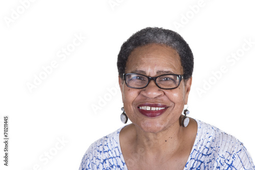 Fototapeta Older woman with glasses isolated