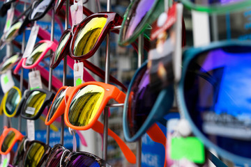 Sunglasses for sale at the booth