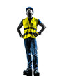 construction worker looking up safety vest silhouette