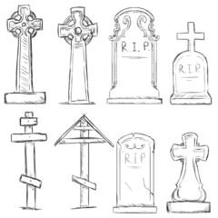 Vector Set of Sketch Cemetery Tombstones