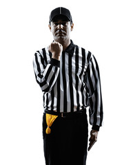 american football referee gestures facemask silhouette