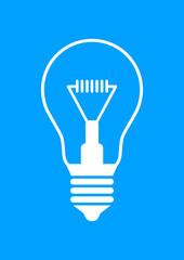 White light bulb icon on blue background