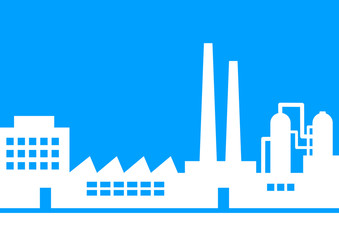White factory icon on blue background