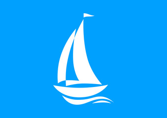 White sailboat icon on blue background