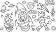 Outer Space Doodle Vector Illustration Art Set