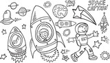 Outer Space Doodle Vector Illustration Art Set poster