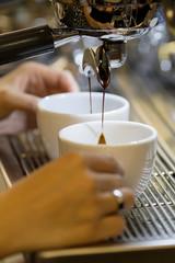 barista make espresso coffee