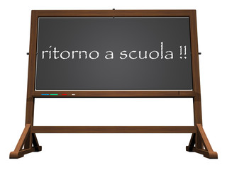 School blackboard italian back to school - 3D render