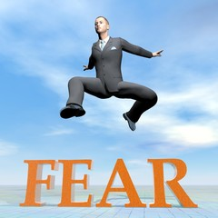 Businessman jumping upon fear word - 3D render