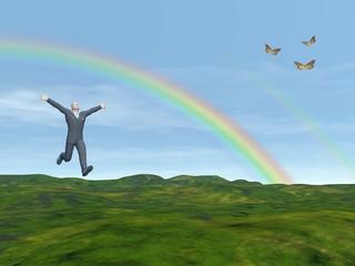 Happy businessman in nature - 3D render