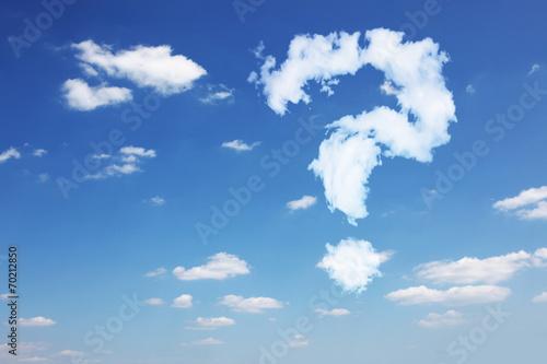 Leinwanddruck Bild Fragezeichen aus Wolken