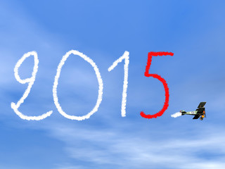 New year 2015 text from biplan smoke - 3D render