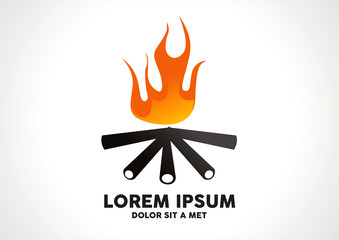 flaming fire bon fire with wood logo vector