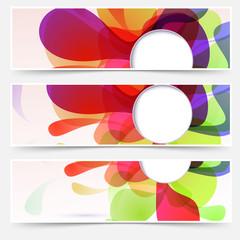 Bright web headers set - abstract liquid