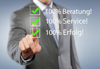 100% Beratung, Service, Erfolg