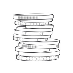 Coins stacks isolated on a white background. Line art