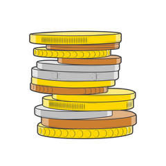 Golden, silver and bronze coins stacks