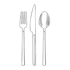Cutlery set of fork, knife and spoon