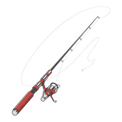 Red fishing rod, spinning with bait