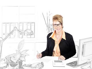 Sekretärin in einem gezeichneten Büro