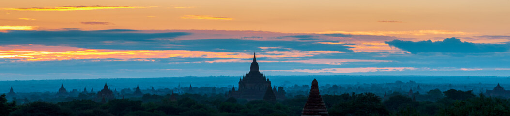Sunrise over Bagan temples, Myanmar