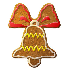 Gingerbread bell symbol decorated colored icing. Holiday cookie