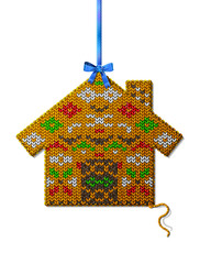 Christmas house of knitted fabric with ornament