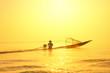 Leinwanddruck Bild - Traveling to Myanmar, outdoor photography of fisherman on tradit