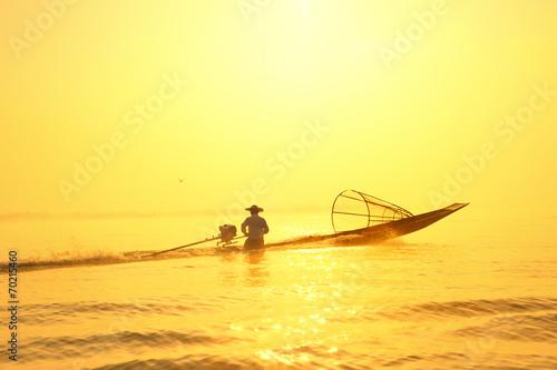 Leinwanddruck Bild Traveling to Myanmar, outdoor photography of fisherman on tradit