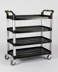 aluminum  shelves rack isolated on white background