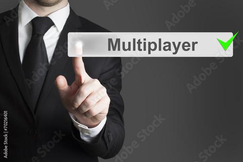 businessman pushing button mutliplayer Poster