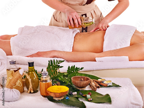 canvas print picture Woman getting spa therapy outdoor.