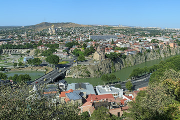 View of districts Avlabari and Metekhi in Tbilisi, Georgia