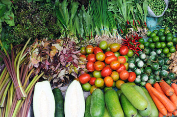 Various fresh vegetables in Asian traditional street market