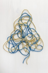 golden and blue beads