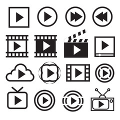 Play icons. Vector illustration