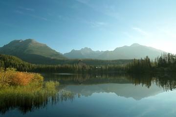 Lake Strba surrounded by high Tatra mountains in Slovakia