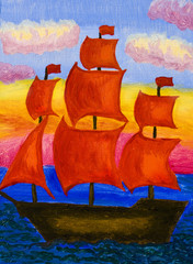 Ship with red sails, painting