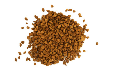 granulated coffee on white background