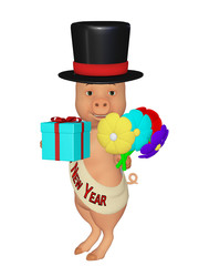 cute cartoon 3d pig happy New Year