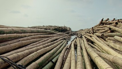 convoy of bamboo stop for on river for securing bamboo rafts(3)