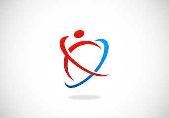 abstract people sport fitness logo