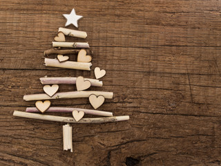 Xmas tree made of wooden branches